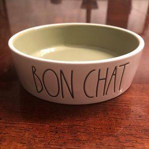 Rae Dunn cat food water bowl BON CHAT
